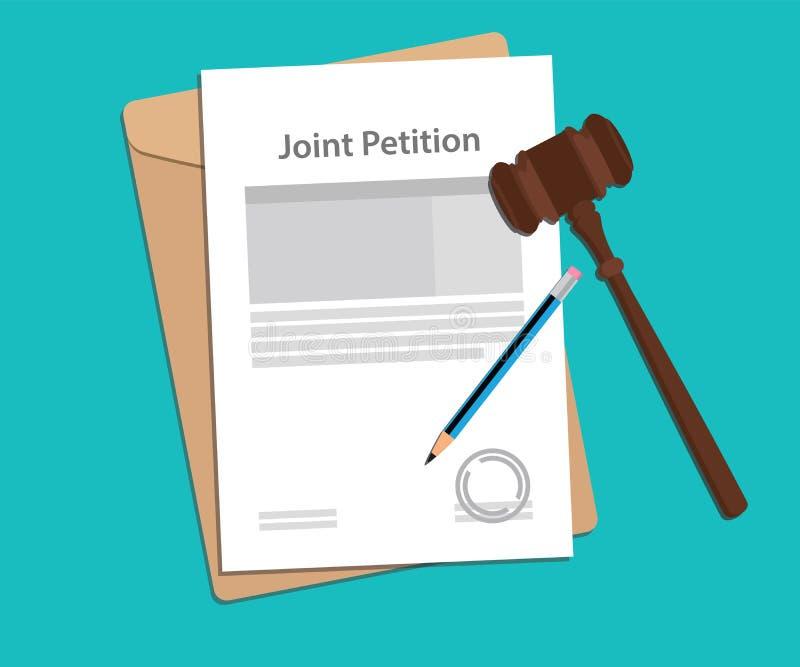 El ejemplo común del concepto de la petición con papeleos, la pluma y un juez martillan libre illustration