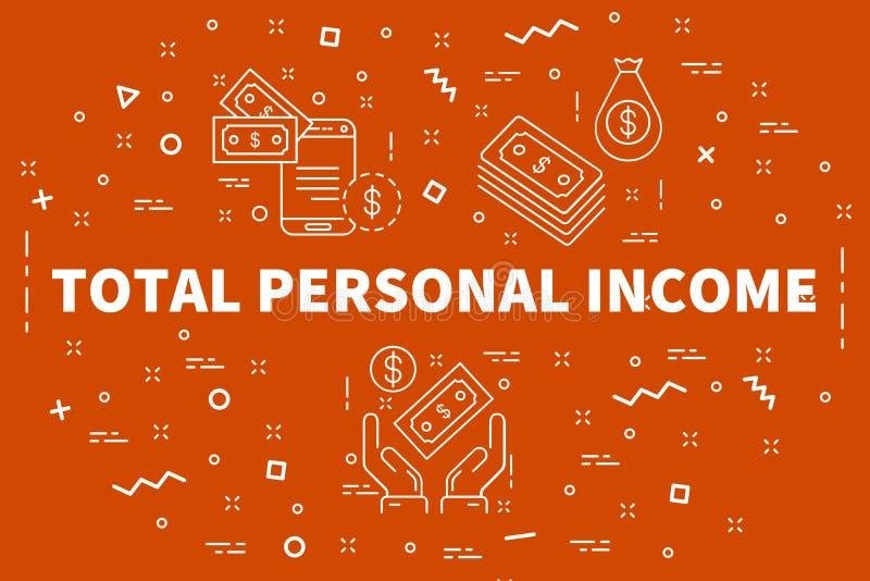 El ejemplo conceptual del negocio con las palabras suma i personal stock de ilustración
