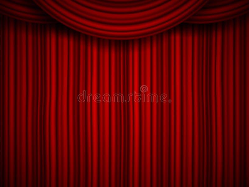 El ejemplo creativo de la etapa con terciopelo de seda rojo del escarlata de lujo cubre y cortinas de la tela aisladas en fondo D stock de ilustración