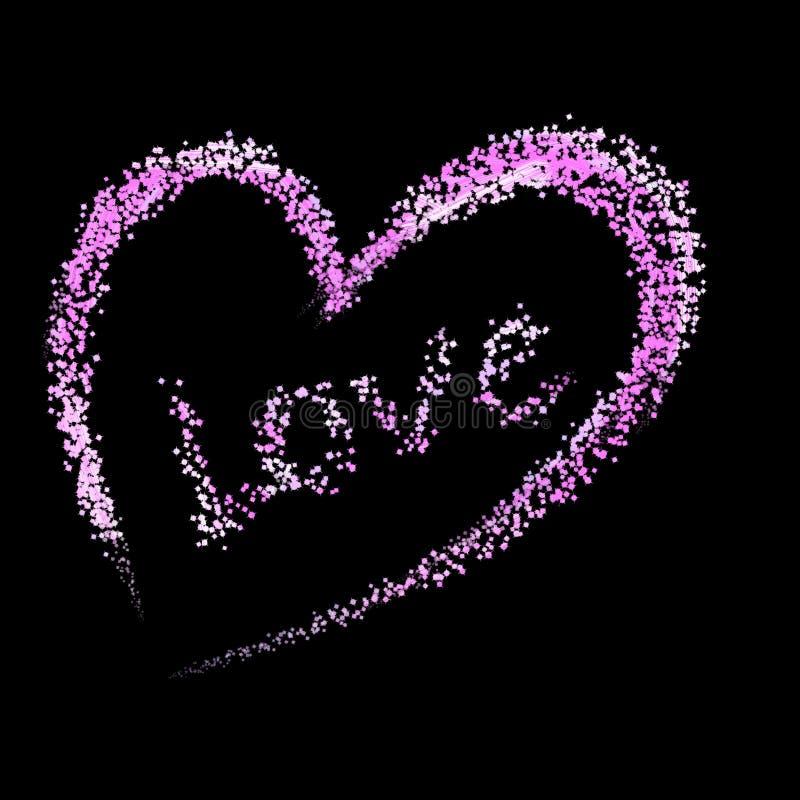 El ejemplo creativo de un corazón y de un amor hechos con la chispa dispersó el cepillo en un fondo negro libre illustration