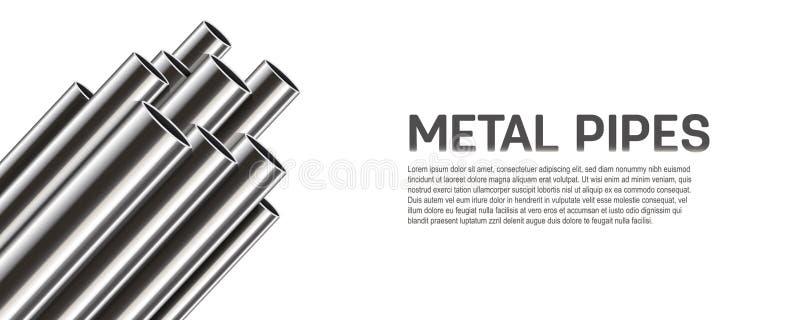 El ejemplo creativo del vector del acero, aluminio, cobre, tubos del metal, pila del perfil del tubo, pvc aisló en transparente libre illustration