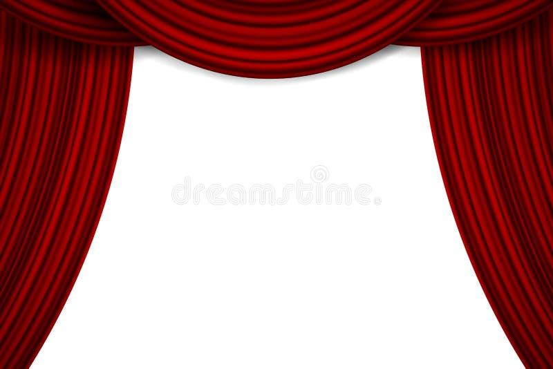 El ejemplo creativo del vector de la etapa con terciopelo de seda rojo del escarlata de lujo cubre y cortinas de la tela aisladas stock de ilustración