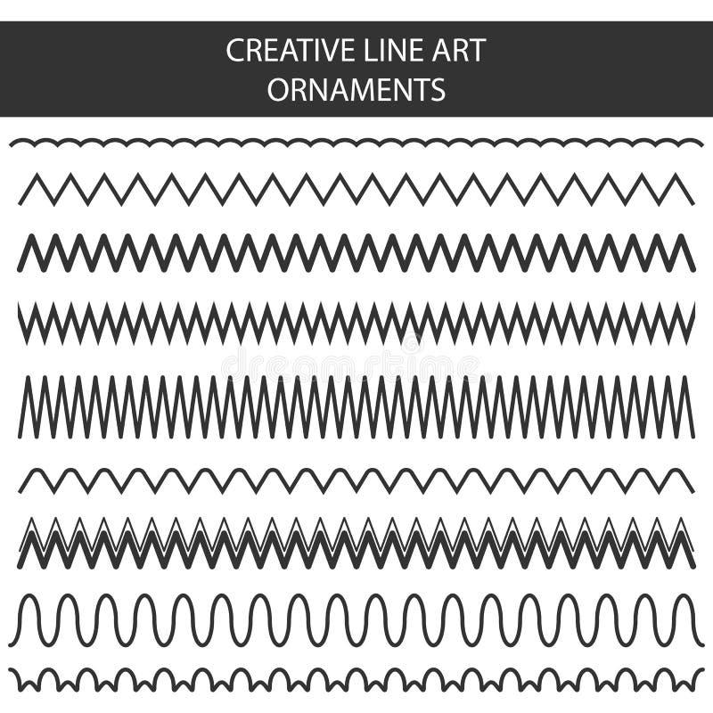 El ejemplo creativo del vector de la línea dibujada mano marcos fijó aislado en fondo transparente Garabato inconsútil geométrico libre illustration