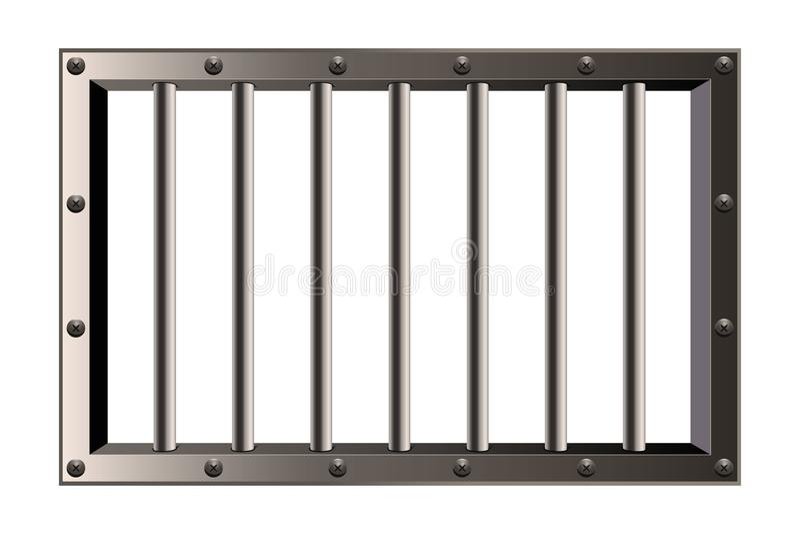El ejemplo creativo del vector de la prisión detallada realista del metal barra la ventana aislada en fondo transparente Br de la stock de ilustración