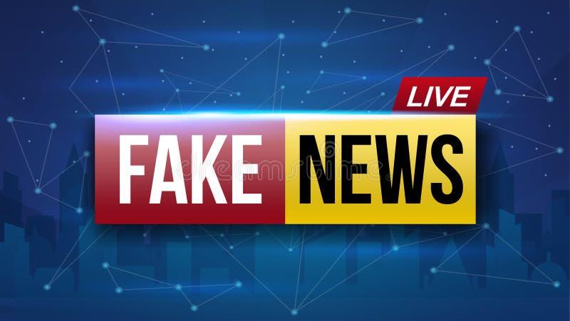 El ejemplo creativo del vector de las noticias falsas vive la pantalla de la televisión de difusión aislada en fondo transparente ilustración del vector