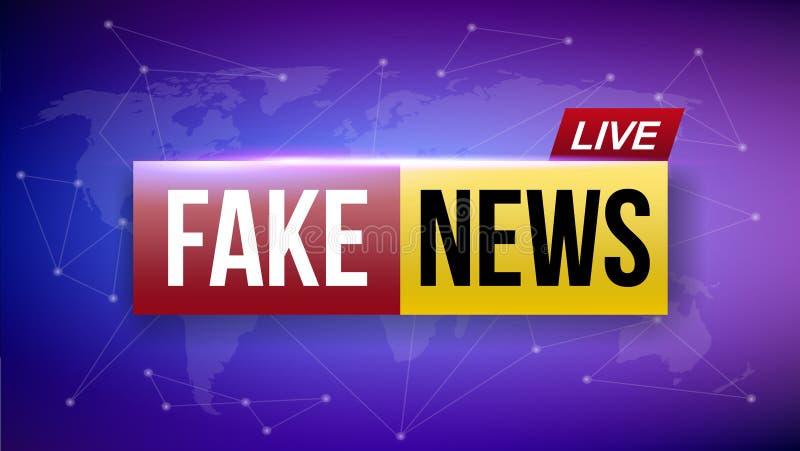 El ejemplo creativo del vector de las noticias falsas vive la pantalla de la televisión de difusión aislada en fondo transparente stock de ilustración