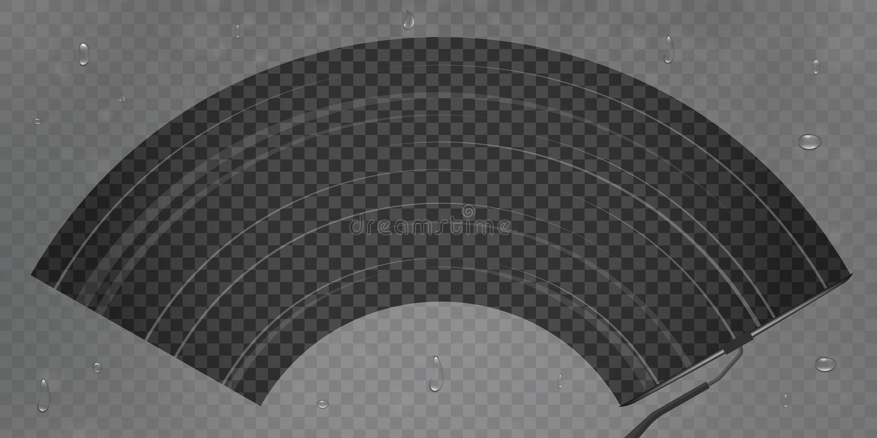 El ejemplo creativo del vector del vidrio realista del trapo del parabrisas del coche, limpiador limpia el parabrisas aislado en  ilustración del vector