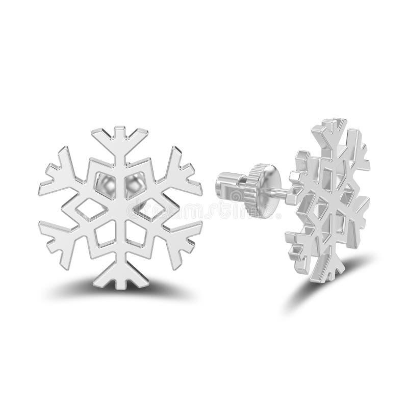 el ejemplo 3D aisló los pendientes del perno prisionero del copo de nieve del oro blanco o de la plata con la sombra ilustración del vector