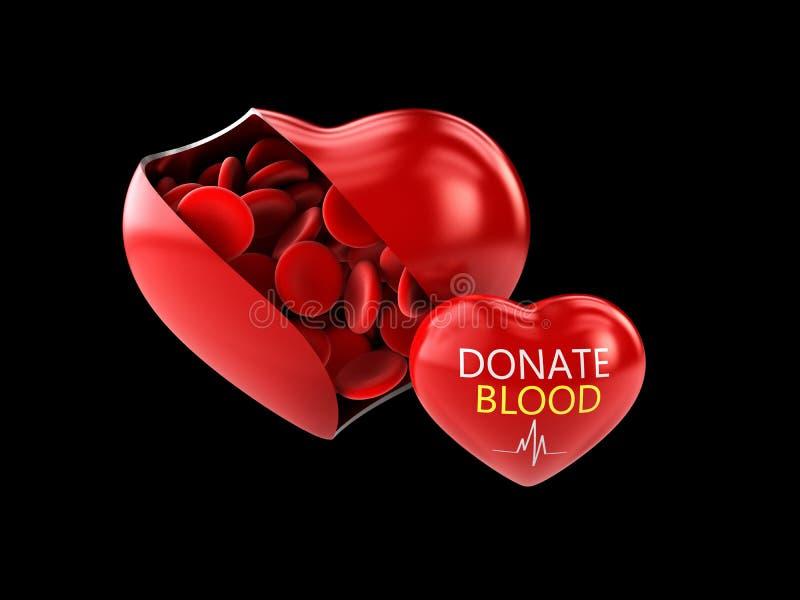 el ejemplo 3d de la donación de sangre, ahorra el negro aislado vida libre illustration