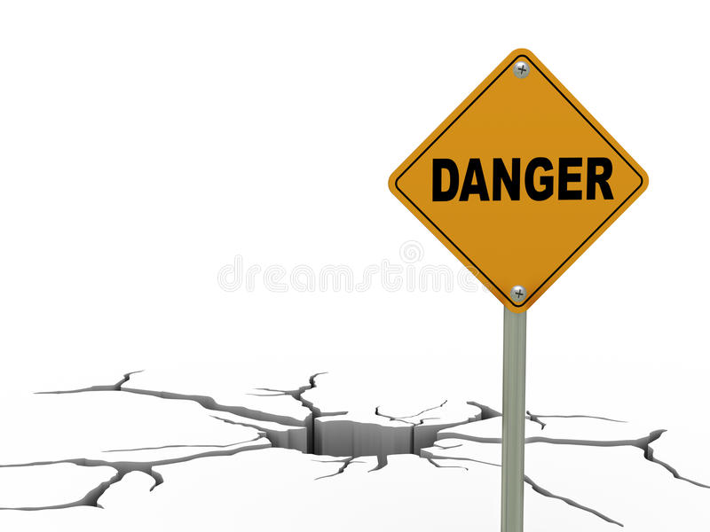 grieta de la tierra 3d y señal de tráfico del peligro stock de ilustración
