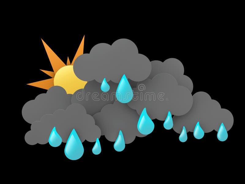 el ejemplo 3d de Rainclouds y de Sun con agua cae en fondo negro ilustración del vector