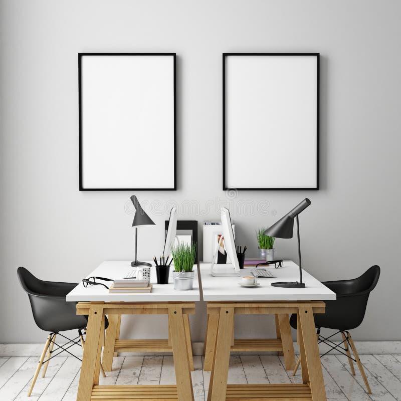 el ejemplo 3D del cartel enmarca la plantilla, mofa del espacio de trabajo para arriba, stock de ilustración