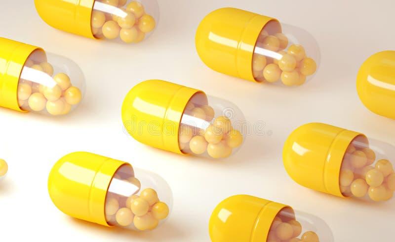 el ejemplo 3d del rinde de píldoras amarillas de la cápsula en un fondo ligero stock de ilustración