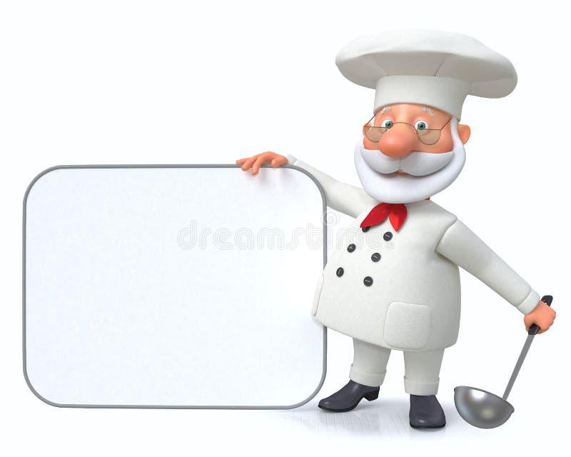 el ejemplo 3D el cocinero muestra el menú stock de ilustración