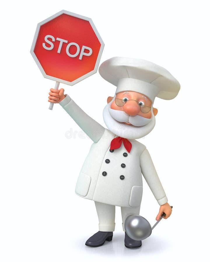 el ejemplo 3D el cocinero muestra el menú ilustración del vector