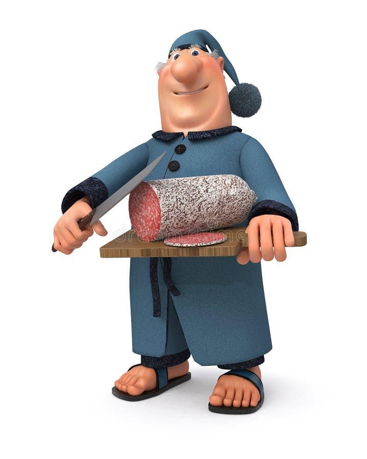 El ejemplo 3d el hombre de negocios con la salchicha y un cuchillo stock de ilustración
