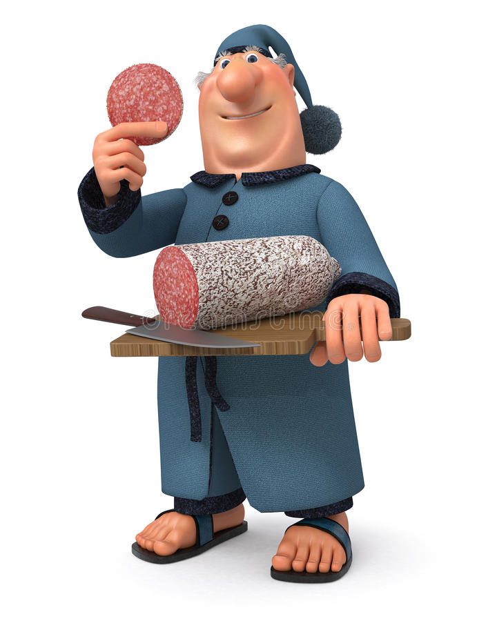 El ejemplo 3d el hombre de negocios con la salchicha y un cuchillo ilustración del vector