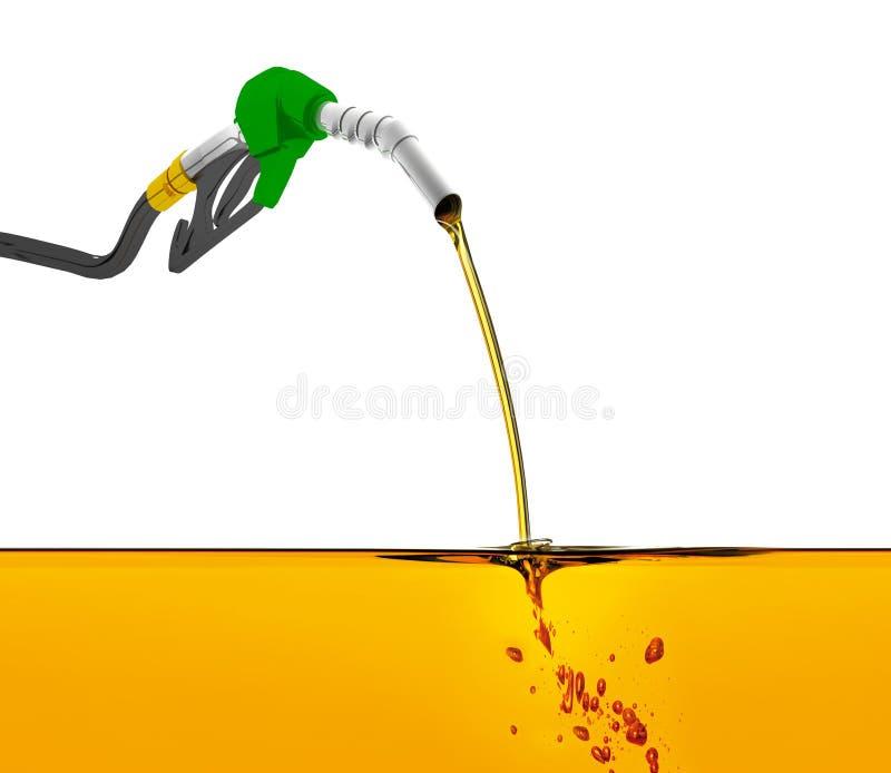 el ejemplo 3D, equipa con inyector la gasolina de bombeo en un tanque, de gasolina de colada del surtidor de gasolina sobre el fo libre illustration