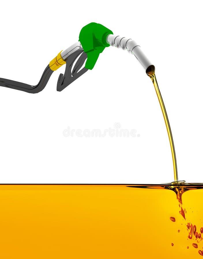 el ejemplo 3D, equipa con inyector la gasolina de bombeo en un tanque, de gasolina de colada del surtidor de gasolina sobre el fo ilustración del vector