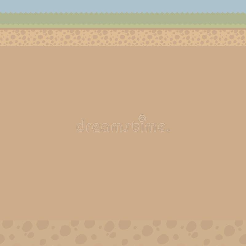 El ejemplo de Brown de un corte del suelo ligero bajo tierra con las piedras, hierba, una tira de ejemplo del vector del cielo az stock de ilustración