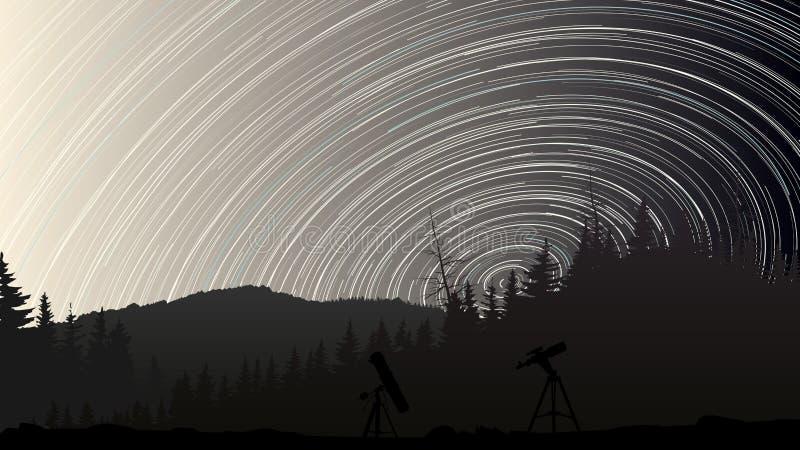 El ejemplo de estrellas remonta círculos en el cielo sobre el bosque stock de ilustración