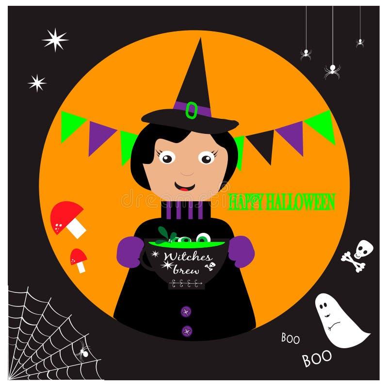 El ejemplo de Halloween con la bruja linda y las brujas elaboran cerveza stock de ilustración