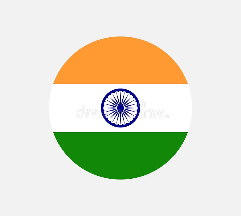 El ejemplo de la bandera de la India formó como un corazón La bandera de la India, colores oficiales y proporcióna correctamente  ilustración del vector