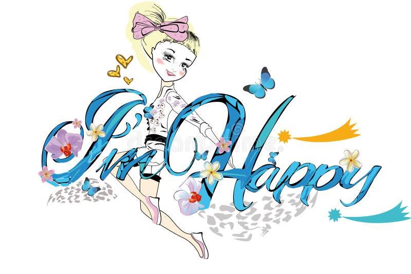 El ejemplo de la camiseta del lema para las pequeñas señoras embroma con una muchacha feliz libre illustration