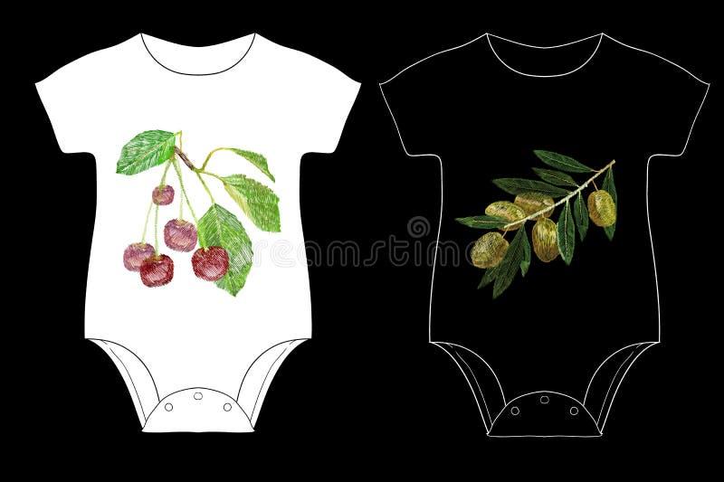 El ejemplo de la cereza y de aceitunas con una hoja verde para los niños es bordado del cuerpo Etiqueta engomada y remiendo con t stock de ilustración