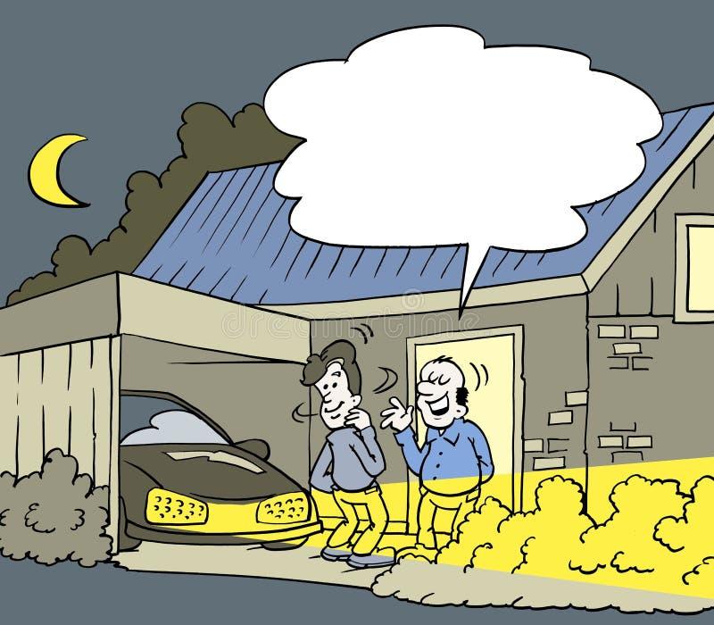 El ejemplo de la historieta de un coche con el nuevo vecino llevó bulbos ilustración del vector
