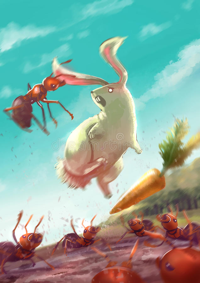 El ejemplo de la historieta del grupo de hormigas ataca un conejo blanco libre illustration