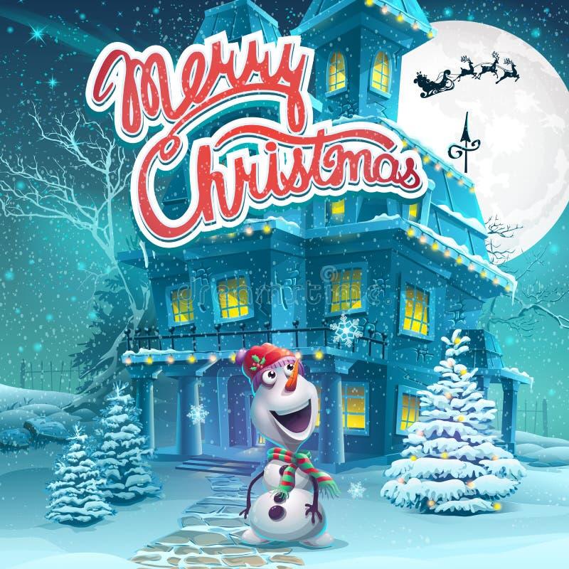 El ejemplo de la historieta del vector casa el fondo de la Navidad Imagen brillante para crear los juegos originales del vídeo o  ilustración del vector