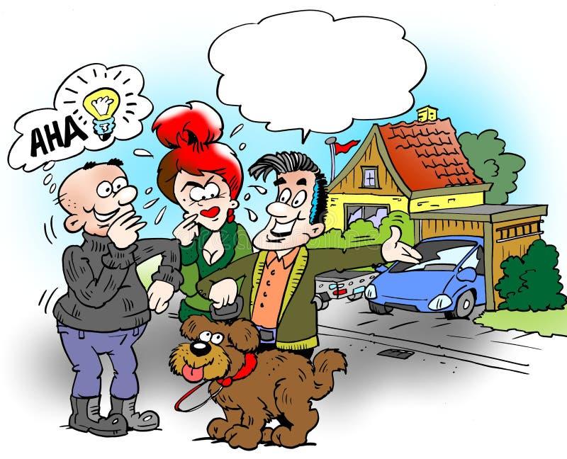 El ejemplo de la historieta de una familia que está hacia fuera y camina el perro, el vecino tendrá una buena idea ilustración del vector