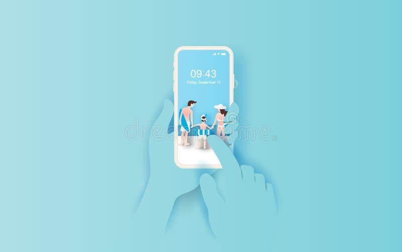 El ejemplo de la mano celebra smartphone con el uso del verano Estación de verano con idea feliz del concepto de la familia de la ilustración del vector