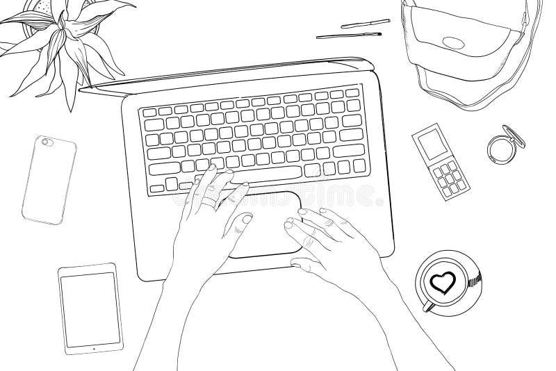 El ejemplo de la mano dibujado, garabatea la coordinación de la endecha del plano con las manos Collage femenino del espacio de t libre illustration