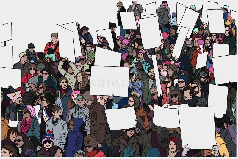 El ejemplo de la muchedumbre de protesta con las manos y el espacio en blanco aumentados firma adentro color stock de ilustración