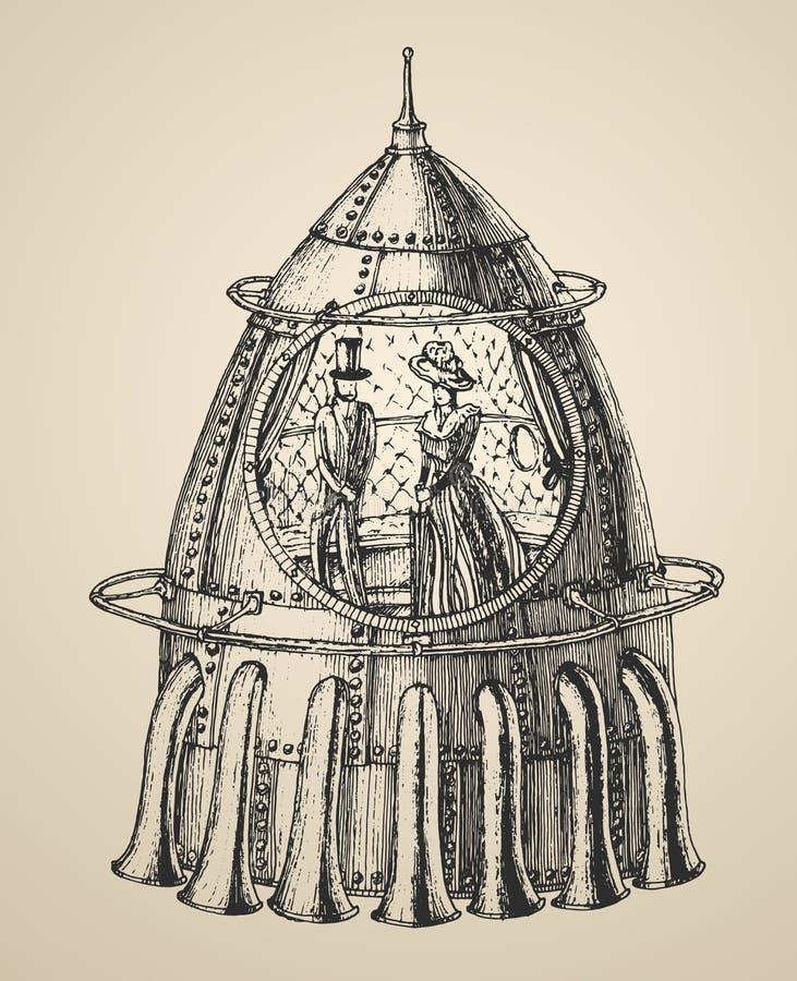 El ejemplo de la nave espacial de una nave punky del cohete del vapor en un estilo retro del vintage grabó el ejemplo ilustración del vector