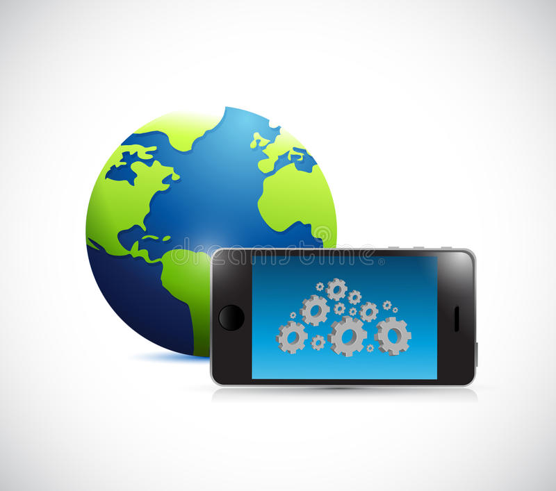 El ejemplo de la nube del globo, del teléfono y del engranaje diseña ilustración del vector