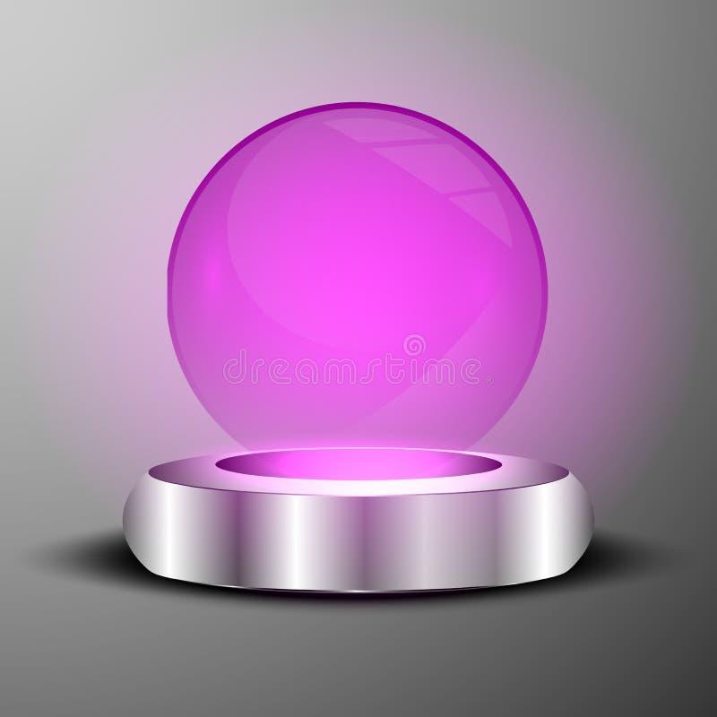 El ejemplo de la púrpura clara iluminó la esfera en emblema de la placa stock de ilustración