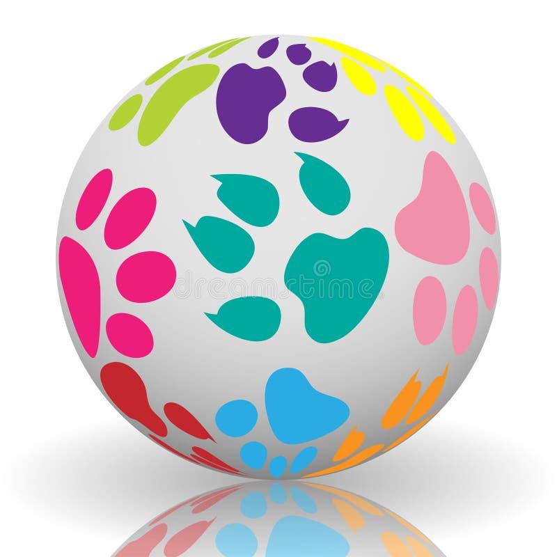 Impresiones de la pata en la bola ilustración del vector