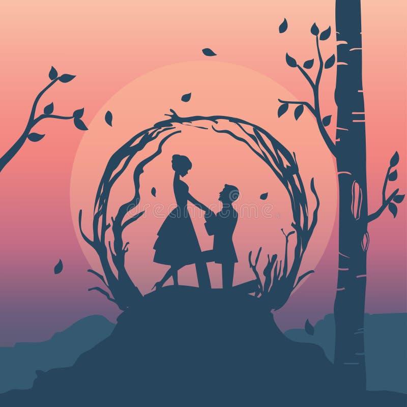 el ejemplo de la silueta de pares románticos tiene oferta de la boda libre illustration