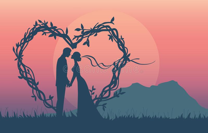 el ejemplo de la silueta de pares románticos tiene oferta de la boda ilustración del vector