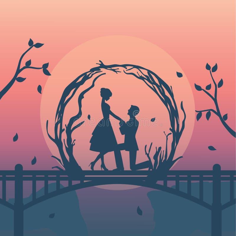 el ejemplo de la silueta de pares románticos tiene oferta de la boda stock de ilustración