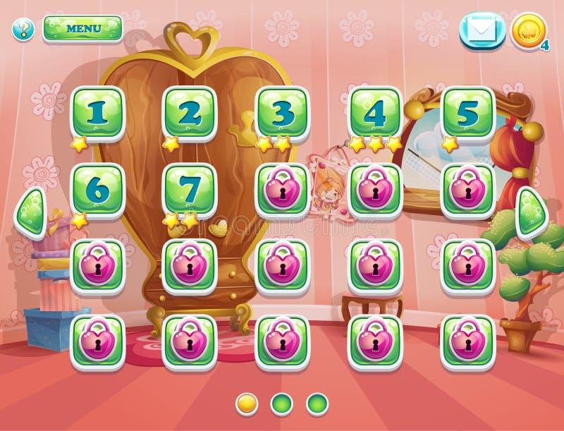 El ejemplo de la ventana del juego nivela para los juegos de ordenador ilustración del vector
