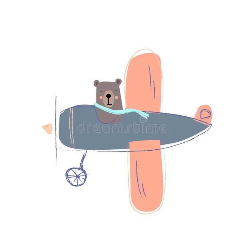 El ejemplo de lindo refiere un avión Pequeño oso de la historieta linda Ilustración del vector ilustración del vector