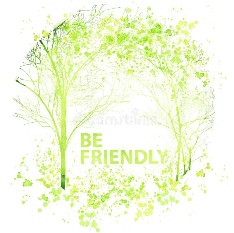 El ejemplo de los árboles de la acuarela del verano y de la primavera, salpica descensos de la tinta y siluetas Concepto de la ec ilustración del vector