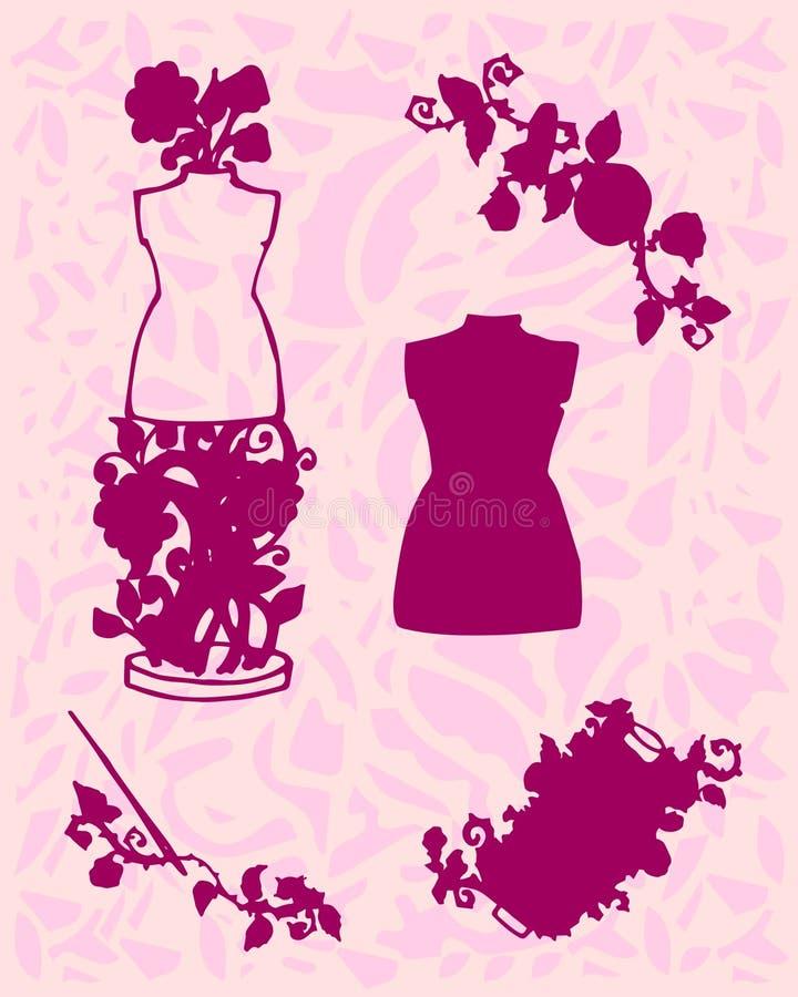 El ejemplo de los accesorios de costura, herramientas para la moda diseña, maniquí, carrete, agujas, botones ilustración del vector