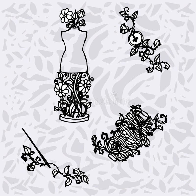 El ejemplo de los accesorios de costura, herramientas para la moda diseña, maniquí, carrete, agujas, botones stock de ilustración