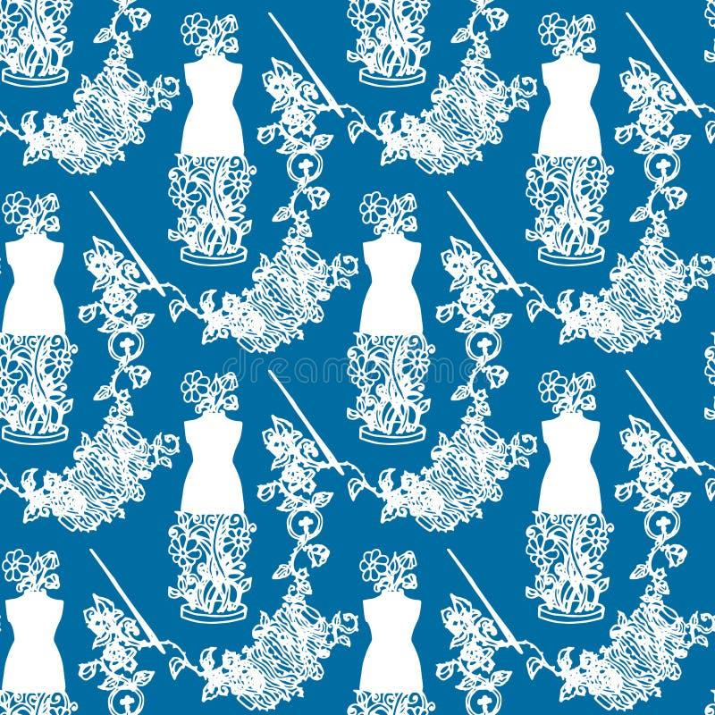 El ejemplo de los accesorios de costura, herramientas para la moda diseña, maniquí, carrete, agujas, botones Modelo inconsútil ilustración del vector