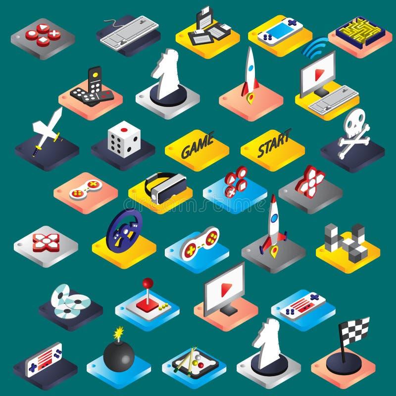El ejemplo de los iconos gráficos del juego de la información fijó concepto stock de ilustración